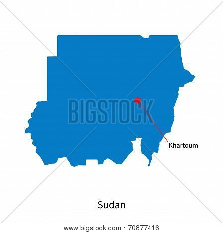 Detailed vector map of Sudan and capital city Khartoum poster
