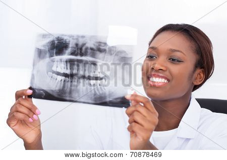 Female Dentist Looking At Jaw Xray In Clinic