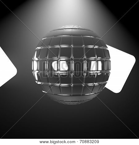 Mirrorball with two lights in darkness 3d render poster
