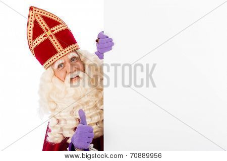 Sinterklaas with whiteboard. isolated on white background. Dutch character of Santa Claus