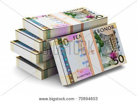 Stacks of 50 Swedish krones