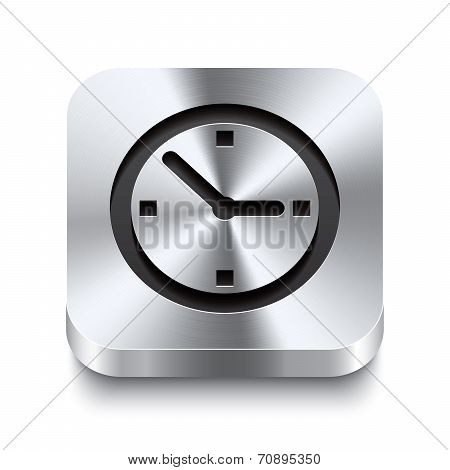 Square Metal Button Perspektive - Watch Icon