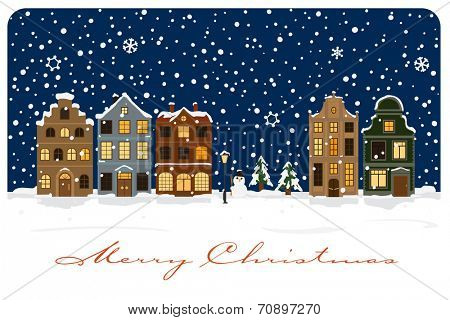 Winter Village Christmas Greetings Vector Illustration. Christmas Greeting Card with snow covered village.