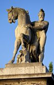 One of the statues on Pont d'lena (Jena Bridge) in Paris France. poster