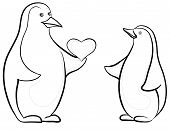 Antarctic emperor penguins with Valentine heart, black contours on white background. Vector poster