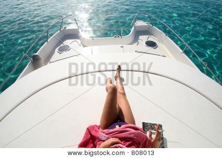 woman legs on a boat