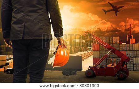 Working Man In Container Dock And Land ,air Transport ,import Export Logistic Cargo Freight And Ship