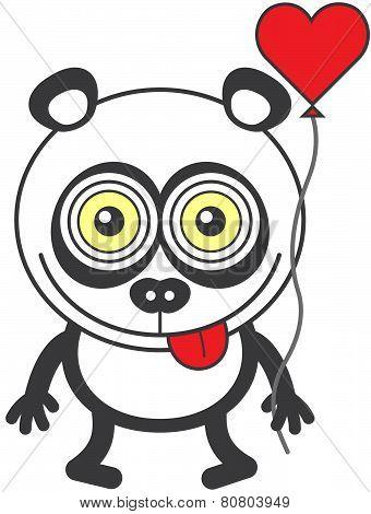 Weird panda bear feeling madly in love