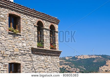 Panoramic view of Guardia Perticara. Basilicata. Italy. poster