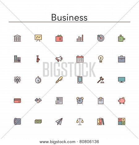 Business Colored Line Icons