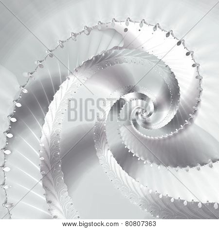 Metallic silver and white spiral