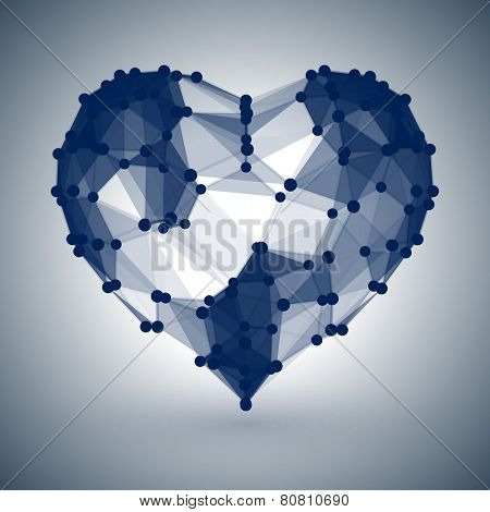 Dark Blue Heart, low polygonal design with dots