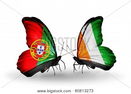 Two Butterflies With Flags On Wings As Symbol Of Relations Portugal And Cote Divoire