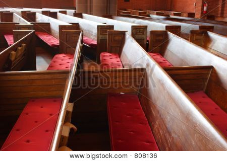 Side view of empty pews