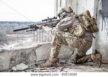 United States Army ranger during the military operation poster