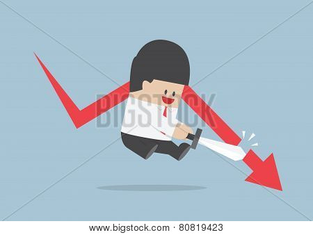 Businessman Cut The Falling Graph, Stock Market, Financial Concept