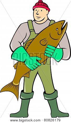 Fishmonger Standing Holding Fish Cartoon