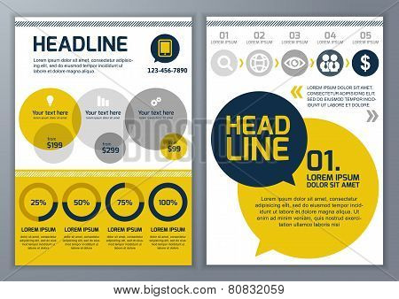 Set Of Vector Template For Brochure, Flyer, Poster, Application And Online Service