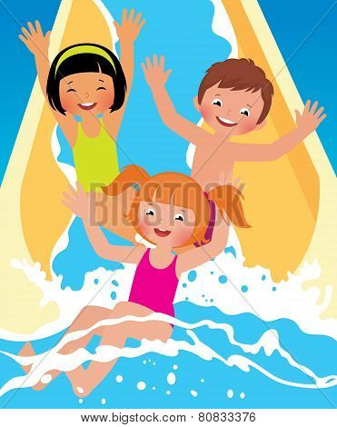 Child Boys And Girl Playing In Water Park