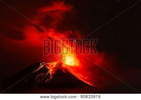 Powerful Explosion Of Tungurahua At Night, South America