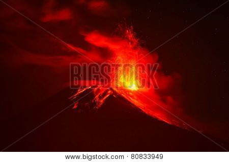 Explosion Of Tungurahua At Night, Ecuador, South America