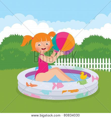 Little Girl Splashing In An Inflatable Pool In His Backyard