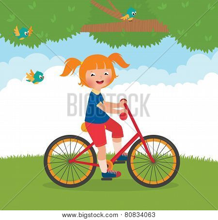 Joyful Child Rides A Bike