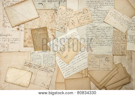 Old Letters, Handwritings, Vintage Postcards. Grungy Paper Texture