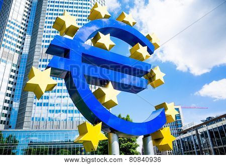 Frankfurt, Germany-May 17 : Euro Sign. European Central Bank (ECB) is the central bank for the euro and administers the monetary policy of the Eurozone. May 17 , 2014 in Frankfurt, Germany.