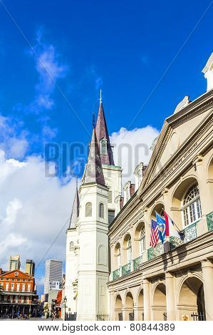 NEW ORLEANS, USA - AUG 6, 2012: Beautiful Saint Louis Cathedral and Louisiana state museum in the French Quarter in New Orleans Louisiana.