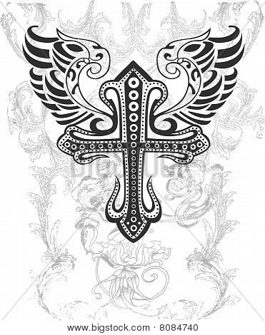 tribal cross with wing illustration