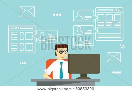 Businessman Interactions By Social Media With Businesspartners