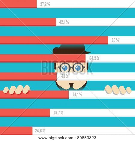 Flat Illustration Of Analytics Information And Development Business. Analytics And Management
