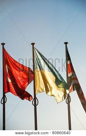 Ukraine, Turkey And United Kingdom Flags - Strasbourg