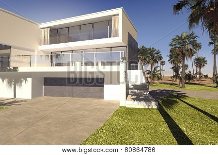3D Rendering of Large double garage and outdoor patio with large windows on a luxury tropical house with a rectangular multi-storey design in a manicured garden with palm trees