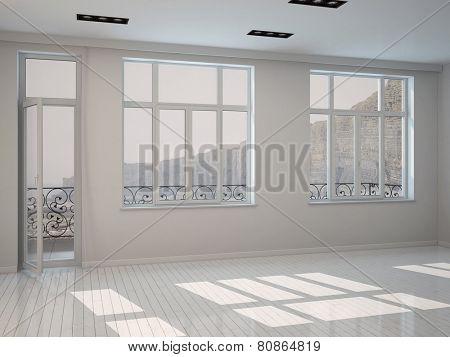 3D Rendering of Interior of a bright sunny white room with a row of large windows and a patio door with white painted floorboards, unfurnished bare architectural background