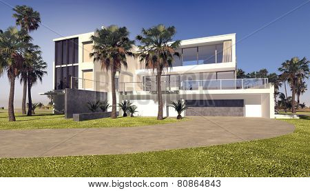 3D Rendering of Modern blocky whitewashed luxury tropical villa with a rectangular flat roofed design in a landscaped garden with palm trees
