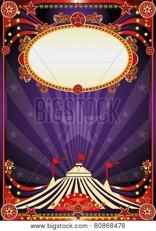 Purple fantastic circus background. A vintage circus background with sunbeams for your entertainment poster