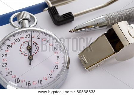 Clipboard With Whistle; Pen; Paper And Stopwatch