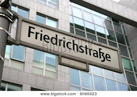Sign of famous street Friedrichstrasse in Berlin, Germany