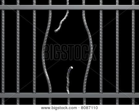 Hole in metal cage.
