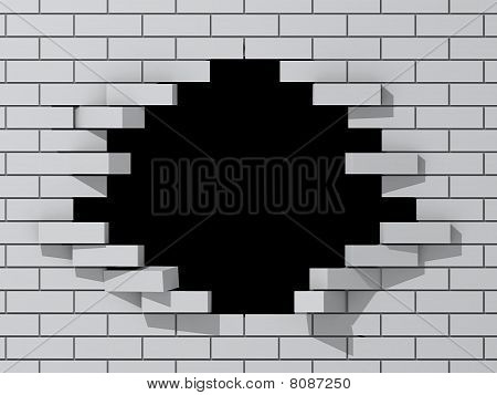 Black hole in white brick wall.