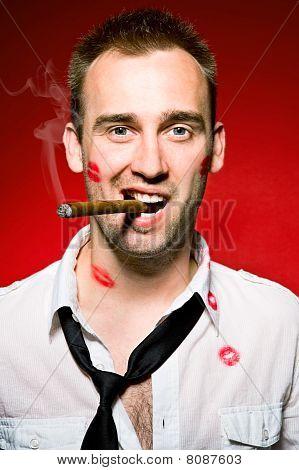 Man Smoking Cigaro