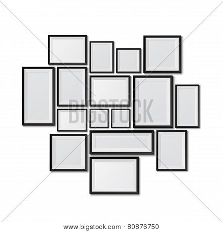 Big set of picture frames isolated on white background