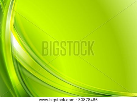 Bright green abstract wavy background. Vector design