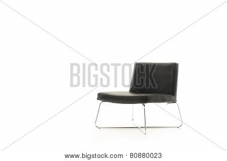 Low Profile Modern Black Chair With Metal Legs