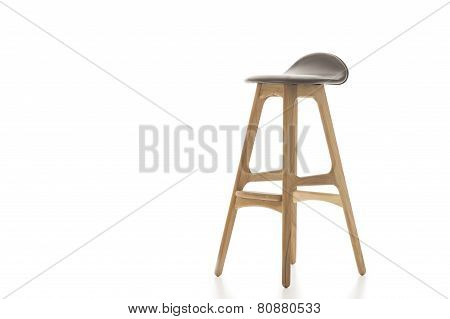 Tall Wooden Leg Stool On White