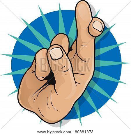 Vintage Pop Art Fingers Crossed Sign.