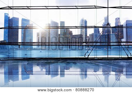 City Lights Urban Scenic View Buildings Concept