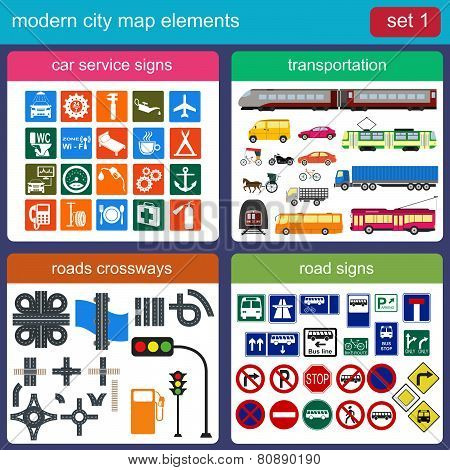 Modern city map elements for generating your own infographics, maps
